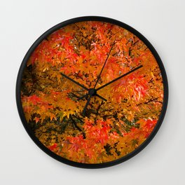 Maple Flames Wall Clock