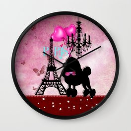 The Star | French Paris Girly Chic Poodle Eiffel Tower Damask Wall Clock