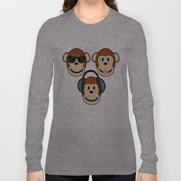 Illustration of Cartoon Three Monkeys - See, Hear, Speak No Evil Long Sleeve T-shirt