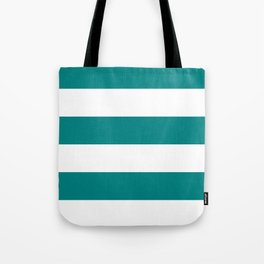 Wide Horizontal Stripes - White and Dark Cyan Tote Bag