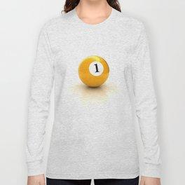 yellow pool billiard ball number 1 one Long Sleeve T-shirt