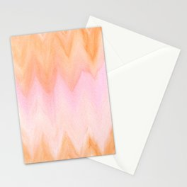 Blush pink orange watercolor hand painted ombre ikat Stationery Cards