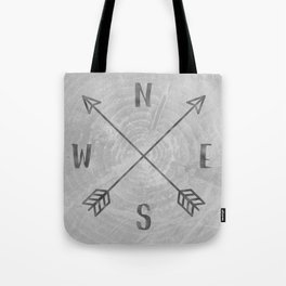 Compass Black and White Tree Tote Bag