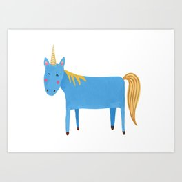 Blue Unicorn Art Print
