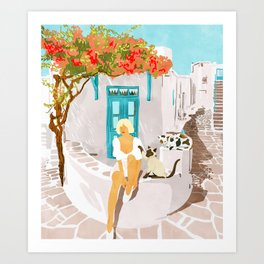 Greek Vacay #illustration #painting Art Print