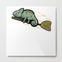 Funny Chameleon On A Flying Broom Metal Print