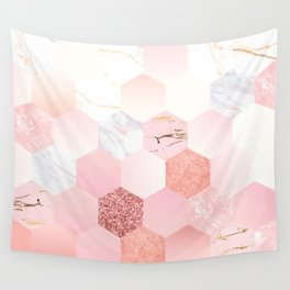 Pink Marble Art Print Wall Tapestry