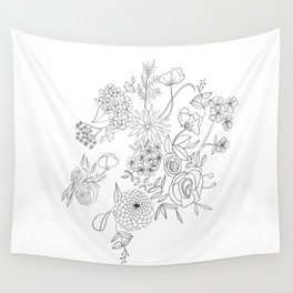 Dahlia Floral Cluster Wall Tapestry