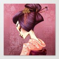 geisha Canvas Prints featuring Geisha by Christine Alcouffe