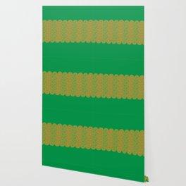 op art pattern retro circles in green and orange Wallpaper