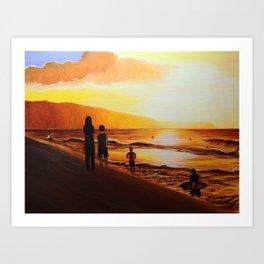 Pipeline Golden Sunset - Hawaii Art Print