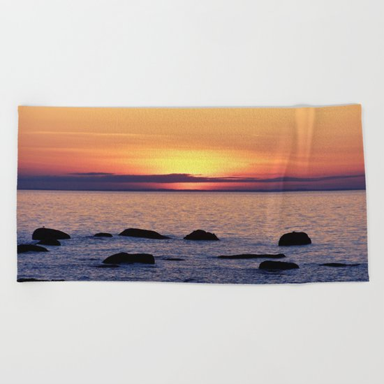 Summer's Glow and the Circle of Rocks Beach Towel