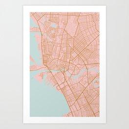 Pink and gold Manila map Art Print