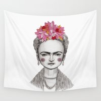 frida kahlo Wall Tapestries featuring Frida Kahlo by Maripili