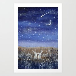 Hares and the Crescent Moon Art Print