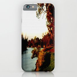 Sunsets on the river bank gum Trees iPhone Case