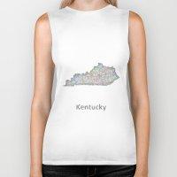 kentucky Biker Tanks featuring Kentucky map by David Zydd