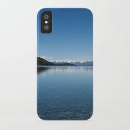 Blue line landscape iPhone Case