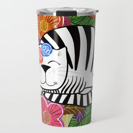 Molly Cat in flowers Travel Mug