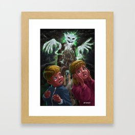 Kids with Haunted Grandfather Clock Ghost Framed Art Print