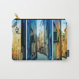 Triptych photos of alleyways in Stockholm. Carry-All Pouch
