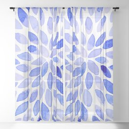 Watercolor brush strokes - blue Sheer Curtain