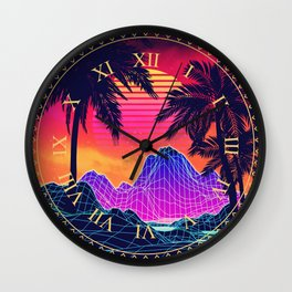 Neon glowing grid rocks and palm trees, futuristic landscape design Wall Clock