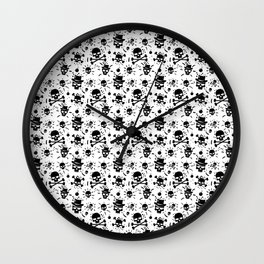 Black skull pattern on white - deluxe Wall Clock