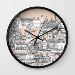 Paris toile sugar pink Wall Clock