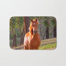 horse in pasture Bath Mat