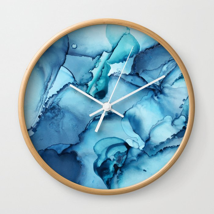 The Blue Abyss - Alcohol Ink Painting Wall Clock