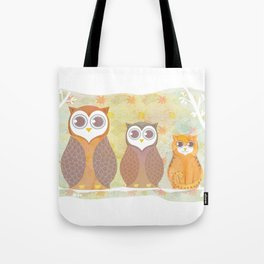 Owls and cat Tote Bag