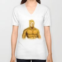 aquaman V-neck T-shirts featuring Aquaman by KitschyPopShop