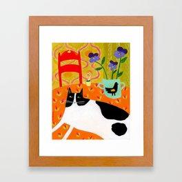 Tuxedo Cat on the Table with Black Bird planter Framed Art Print