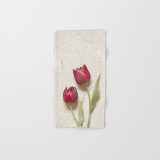 Two Red Tulips II Hand & Bath Towel