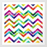 Rainbow Chevron Duvet Art Print