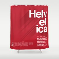 helvetica Shower Curtains featuring Helvetica by Cohen McDonald