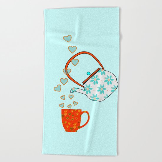 Tea Time Love Beach Towel