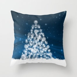 Blue Christmas Eve Snowflakes Winter Holiday Throw Pillow