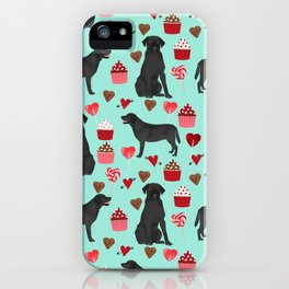 Black Lab love hearts cupcakes valentines day dog breed pet art gifts labrador retriever breed iPhone Case