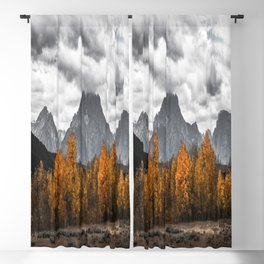 Teton Fall - Autumn Colors and Grand Tetons in Black and White Blackout Curtain