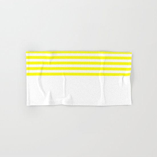 Horizontal Stripes (Yellow/White) Hand & Bath Towel