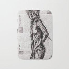 Saint - Charcoal on Newspaper Figure Drawing Bath Mat