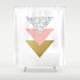 Marble, Coral, and Gold - Triangles Shower Curtain