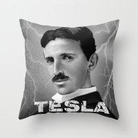 tesla Throw Pillows featuring Nikola Tesla by San Fernandez