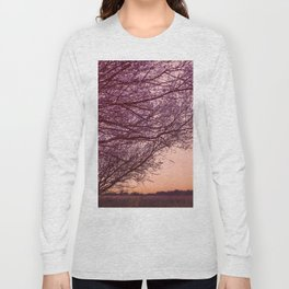Purple Tree, Coral Orange Sky Long Sleeve T-shirt