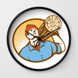 Logger Forester Lumberjack Carry Log Retro Wall Clock