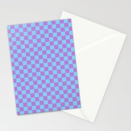Lavender Violet and Baby Blue Checkerboard Stationery Cards