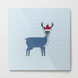 Snow Deer stole Santa's hat Metal Print
