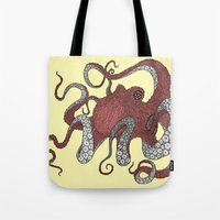 octopus Tote Bags featuring Octopus by Amanda James